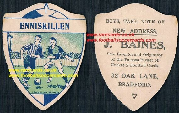 1914 Baines Enniskillen F.C. Northern Ireland New Address Oak Lane back
